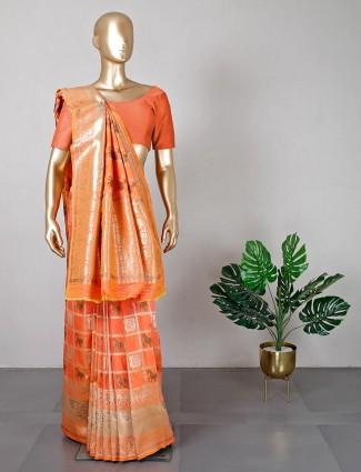 Cotton silk peach saree for wedding
