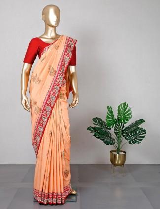 Cotton silk peach saree for women