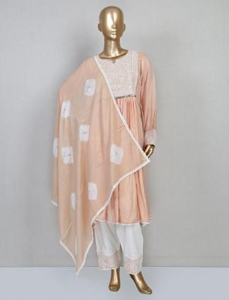 Cotton silk peach suit for festive look