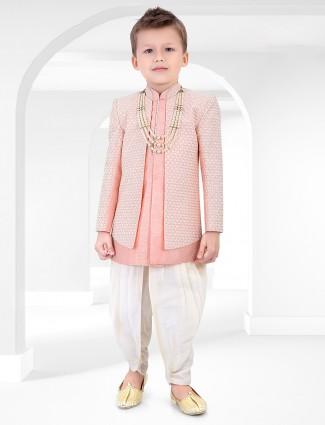 Cotton silk pink chikan thread indo western