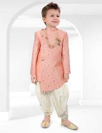 Cotton silk pink indo western for wedding