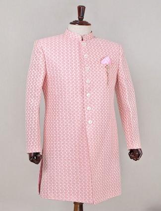 Cotton silk pink indowestern sherwani for mens