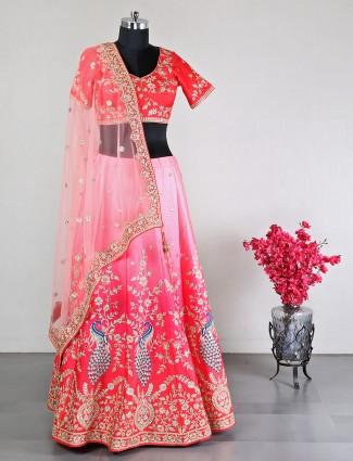 Cotton silk pink semi stitched lehenga choli for wedding
