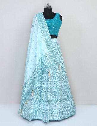 Cotton silk rama blue wedding lehenga choli
