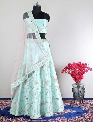 Cotton silk sea green unstitched wedding lehenga choli