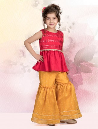 Cotton silk sharara suit in maroon