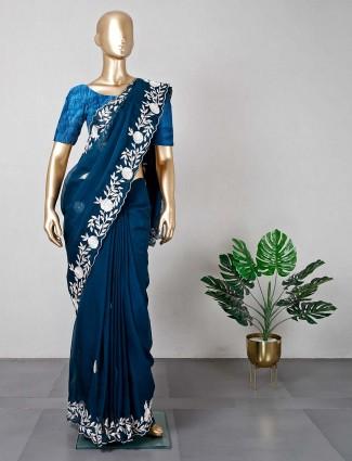 Cotton silk teal blue saree for wedding