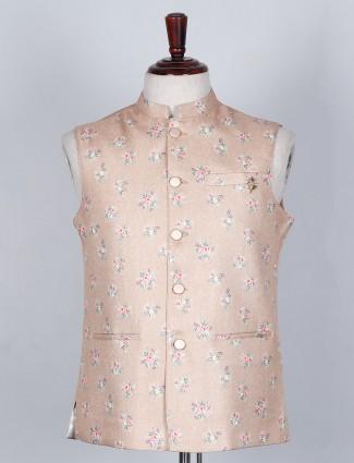 Cotton silk waistcoat in beige color