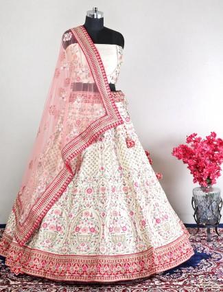 Cotton silk wedding wear cream unstitched lehenga choli