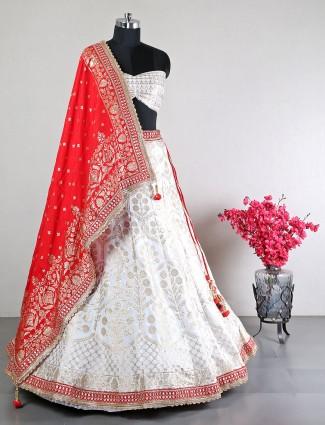 Cotton silk white wedding occasions unstitched lehenga choli