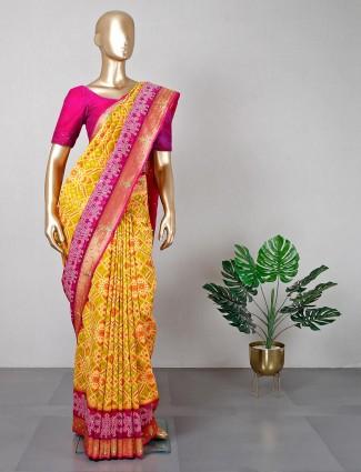 Cotton silk yellow colour saree