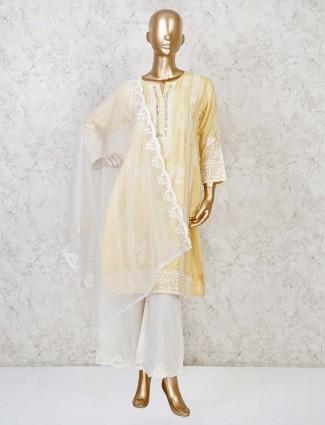 Cotton silk yellow festive palazzo set