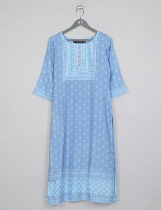 Cotton sky blue casual wear kurti for wonderful lady