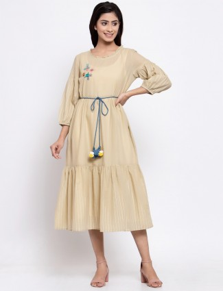 Cotton solid and stripe beige casual wear kurti