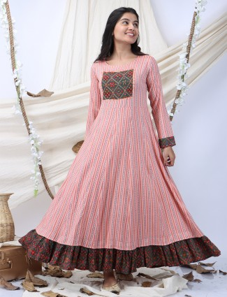 Cotton stripe and printed casual wear kurti in pink