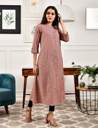 Cotton stripe coral pink kurti for casual wear