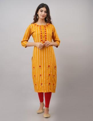 Cotton turmeric yellow stripe kurti for casual look