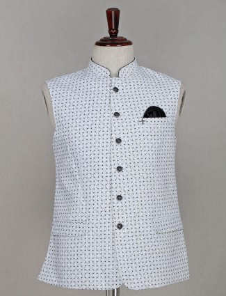 Cotton waistcoat in printed white
