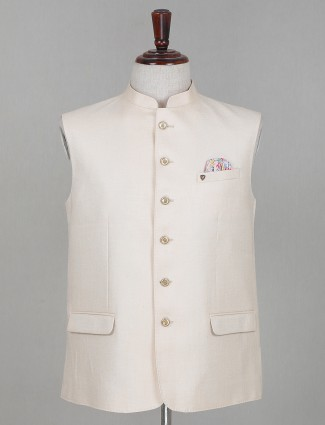 Cotton waistcoat in solid cream