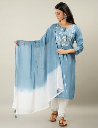 Cotton yale blue festive wear stripe punjabi style pant suit