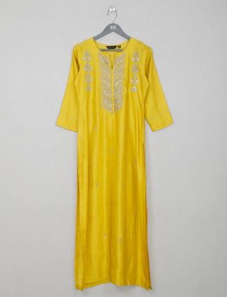 Cotton yellow casual wear kurti