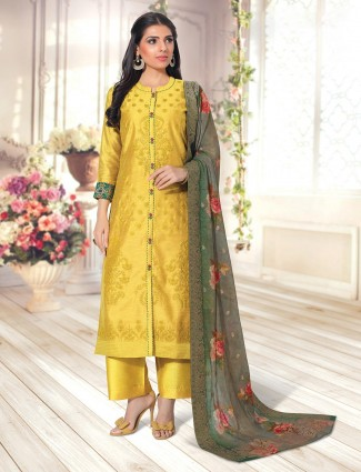 Cotton yellow palazzo suit for festive functions
