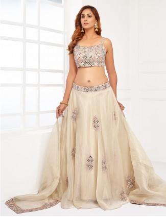 Cream Alluring tissue silk wedding wear gorgeous lehenga choli