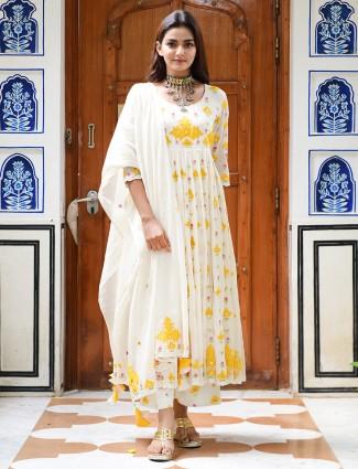 Cream Amazing festive cotton punjabi anarkali style palazzo suit