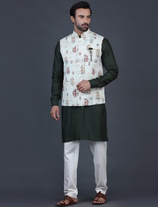 Cream and green cotton silk mens waistcoat set