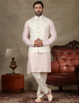 Cream and pink silk waistcoat set for festive occasion
