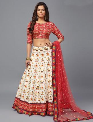 Cream and red wedding wear patola silk lehenga
