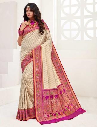 Cream banarasi silk wedding wear designer saree
