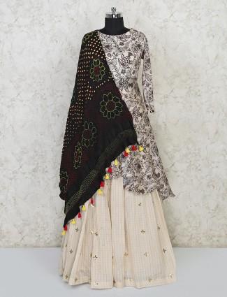 Cream chanderi cotton wedding occasion printed lehenga suit