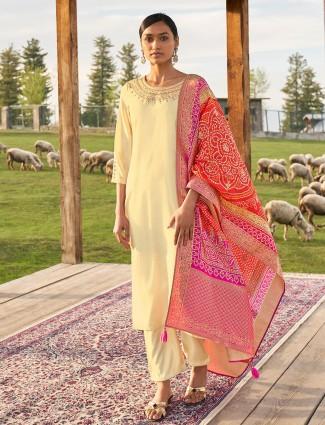Cream cotton festive wear punjabi style pant suit