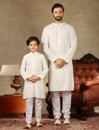 Cream cotton elegant look festive kurta suit for father and son