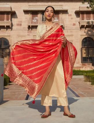 Cream cotton festive wear salwar suit