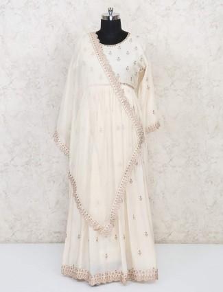 Cream cotton floor length sober anarkali suit