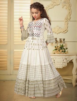 Cream cotton silk cotton gown for wedding