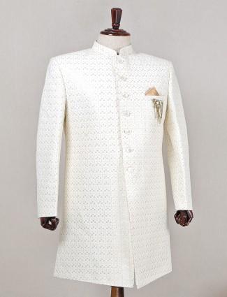 Cream cotton silk indowestern sherwani for wedding