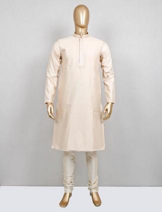 Cream cotton silk kurta suit festive wear