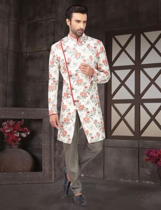 Cream cotton silk wedding wear mens indo western