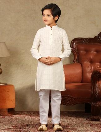 Cream designer cotton kurta suit