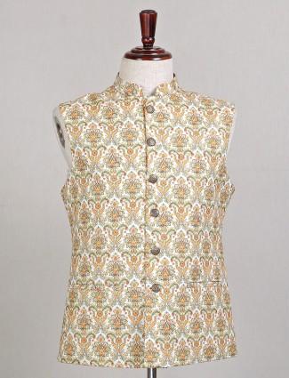 Cream designer silk party wear waistcoat for mens