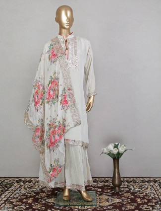 Cream effective hue sharara suit for pretty women