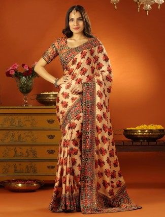 Cream excellent soft silk saree for wedding with ready made blouse