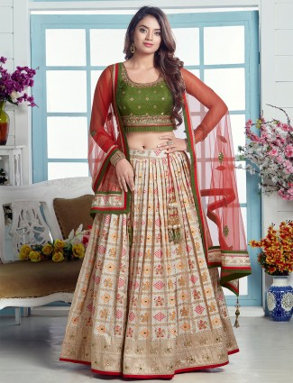 Cream fabulous wedding wear patola silk lehenga choli