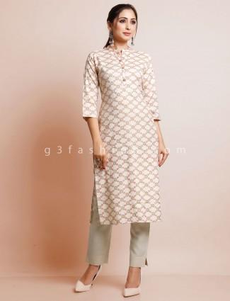 Cream festive wear printed cotton kurti
