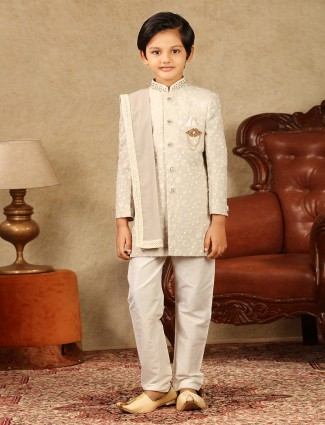 Cream georgette fabric boys sherwani for wedding occasions