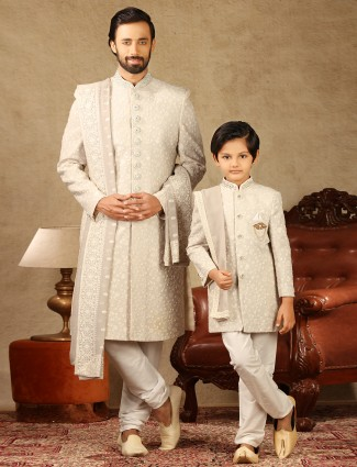 Cream georgette fabric sherwani for father and son