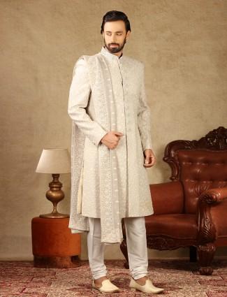 Cream georgette fabric sherwani for wedding occasions